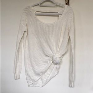 Sweaters - White tie front sweater